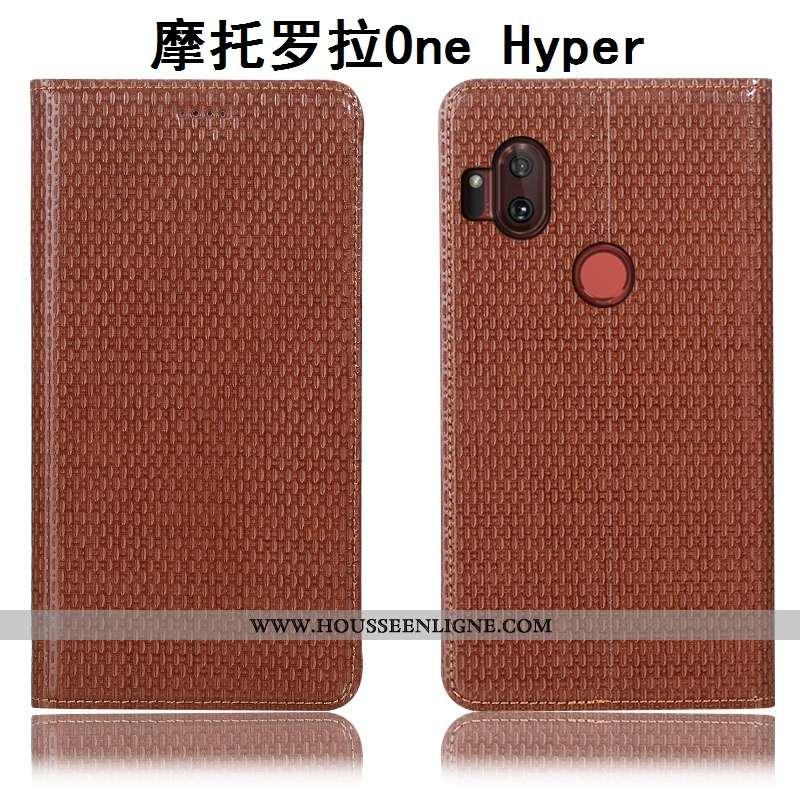 Coque Motorola One Hyper Protection Cuir Véritable Housse Téléphone Portable Incassable Modèle Fleur