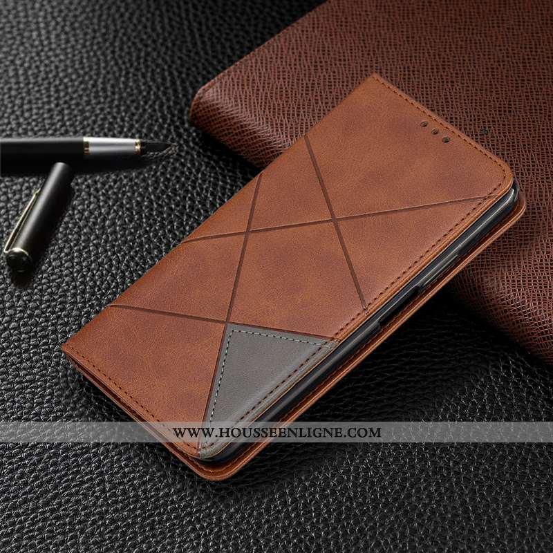 Coque Motorola One Macro Protection Cuir Étui Automatique Housse Tout Compris Marron