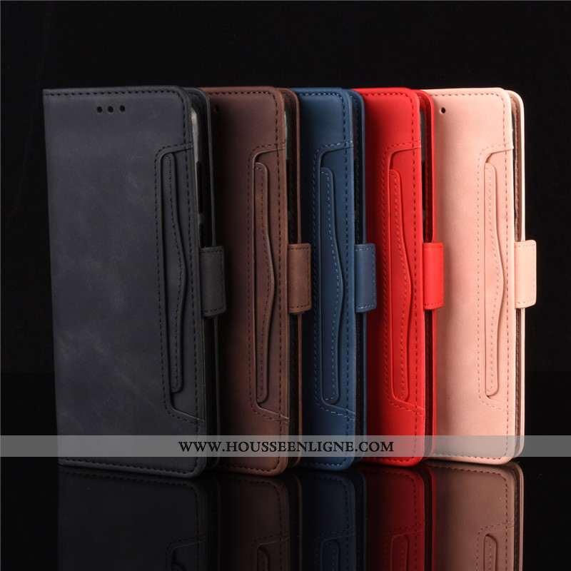 Coque Motorola One Macro Protection Cuir Noir Téléphone Portable Étui