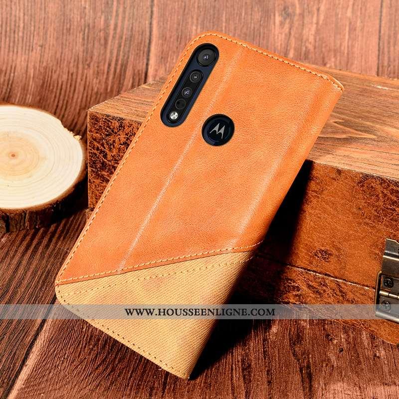 Coque Motorola One Macro Protection Cuir Tout Compris Orange Support Carte Incassable