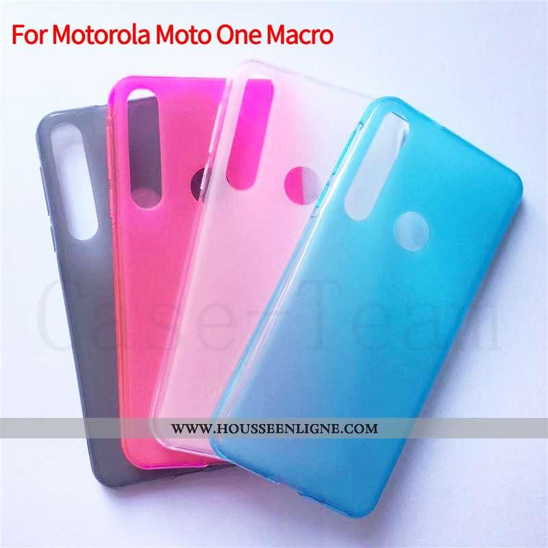 Coque Motorola One Macro Protection Tissu Étui Bleu Téléphone Portable