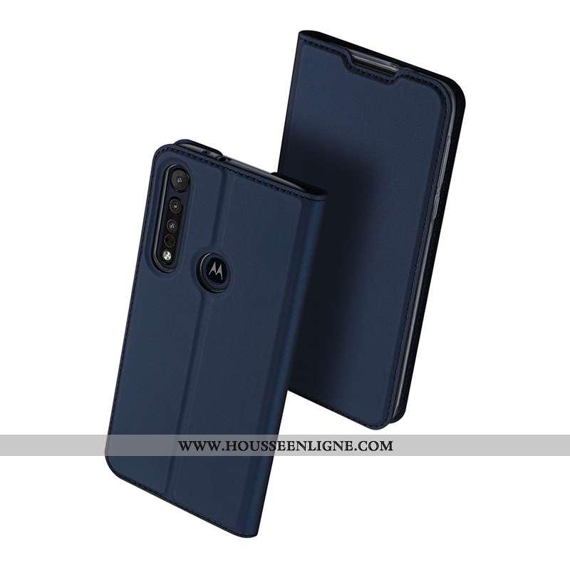Coque Motorola One Macro Sac Protection Incassable Téléphone Portable Carte Étui Bleu Marin Bleu Fon