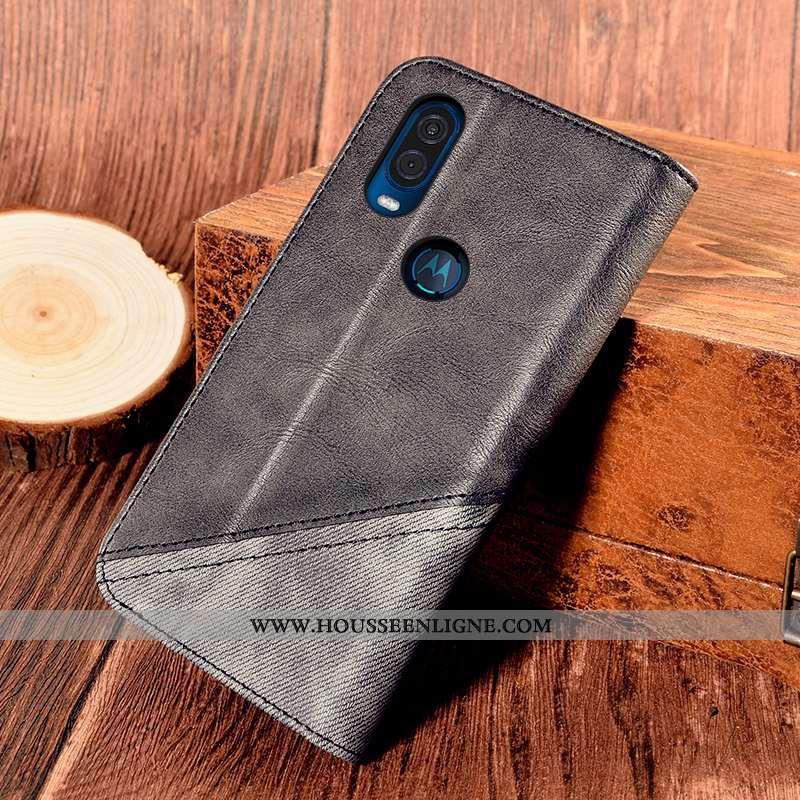 Coque Motorola One Vision Cuir Protection Tout Compris Support Téléphone Portable Noir