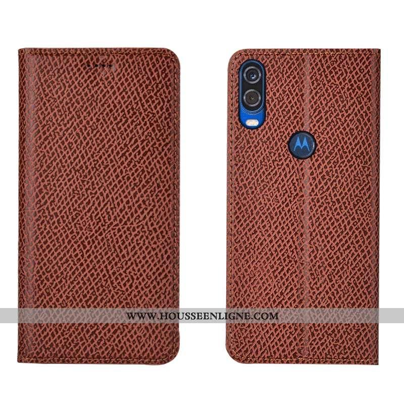 Coque Motorola One Vision Cuir Véritable Modèle Fleurie Tout Compris Protection Housse Étui Orange
