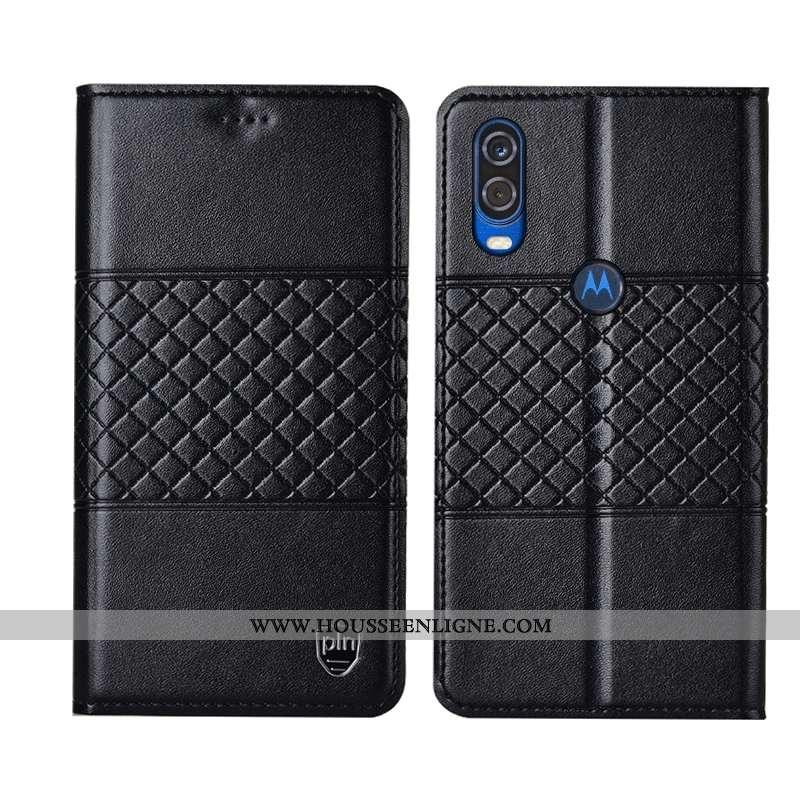 Coque Motorola One Vision Protection Cuir Véritable Mesh Téléphone Portable Étui Incassable Noir