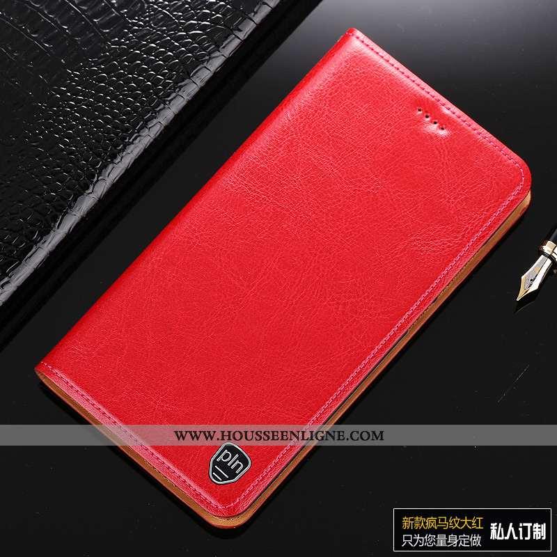 Coque Motorola One Vision Protection Cuir Véritable Rouge Housse Tout Compris Téléphone Portable