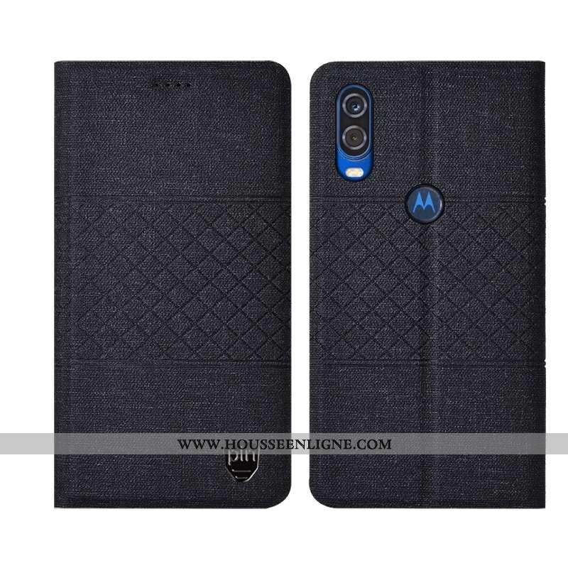 Coque Motorola One Vision Protection Plaid Matelassé Étui Incassable Téléphone Portable Noir