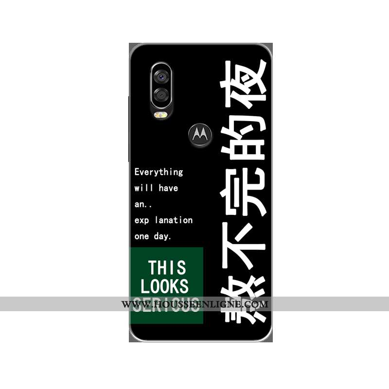 Coque Motorola One Vision Protection Tendance Incassable Silicone Noir Peinture