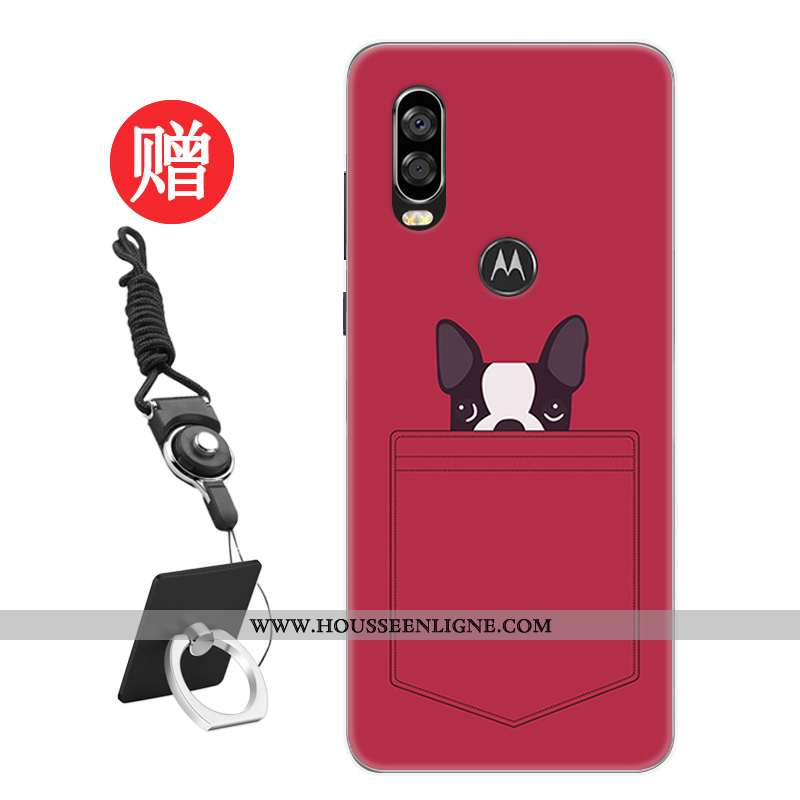 Coque Motorola One Vision Tendance Protection Frais Téléphone Portable Personnalité Modèle Rat Rouge