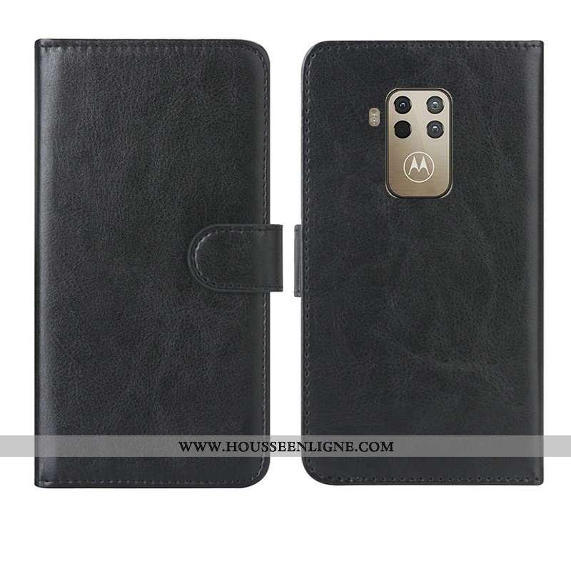 Coque Motorola One Zoom Cuir Étui Noir Téléphone Portable