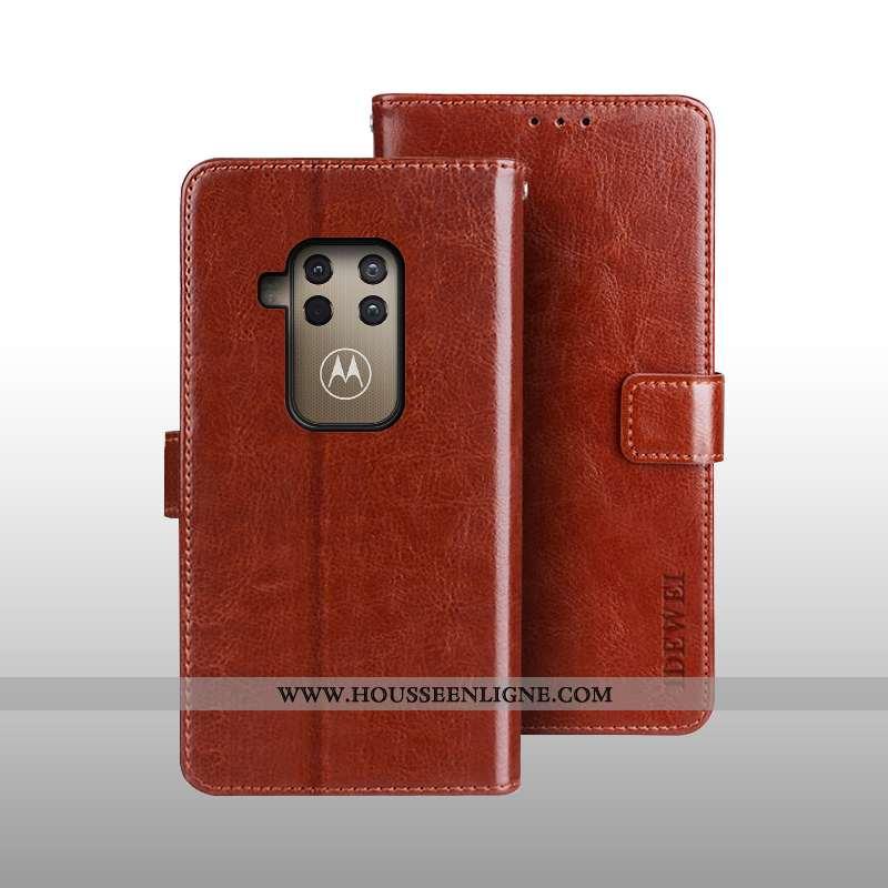 Coque Motorola One Zoom Cuir Protection Téléphone Portable Housse Étui Portefeuille Marron
