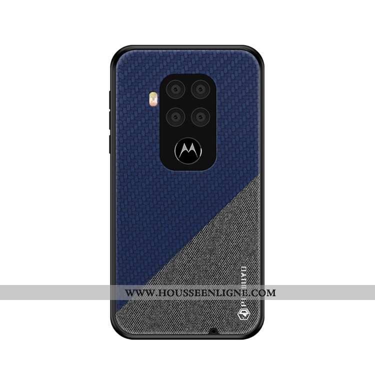 Coque Motorola One Zoom Ultra Légère Modèle Fleurie Toile Téléphone Portable Bleu Marin Bleu Foncé