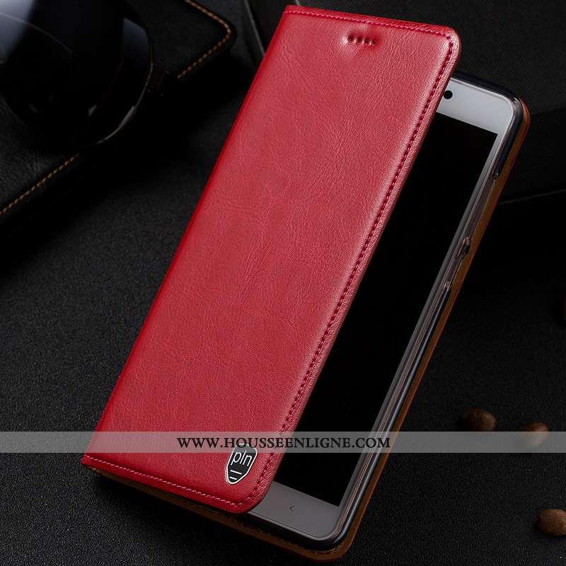 Coque Nokia 2.1 Protection Cuir Véritable Rouge Téléphone Portable Étui