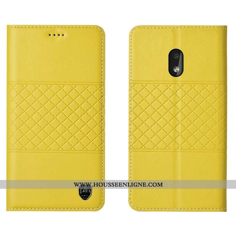 Coque Nokia 2.2 Cuir Véritable Protection Étui Téléphone Portable Jaune Housse Incassable