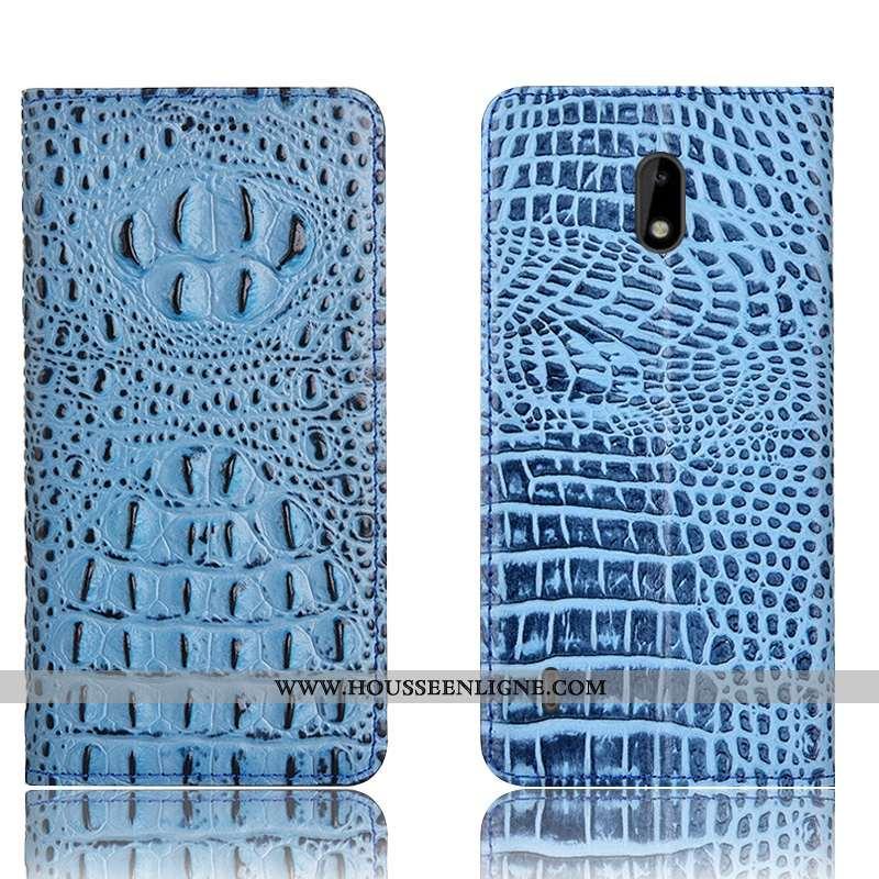 Coque Nokia 2.2 Protection Cuir Véritable Téléphone Portable Étui Incassable Housse Bleu