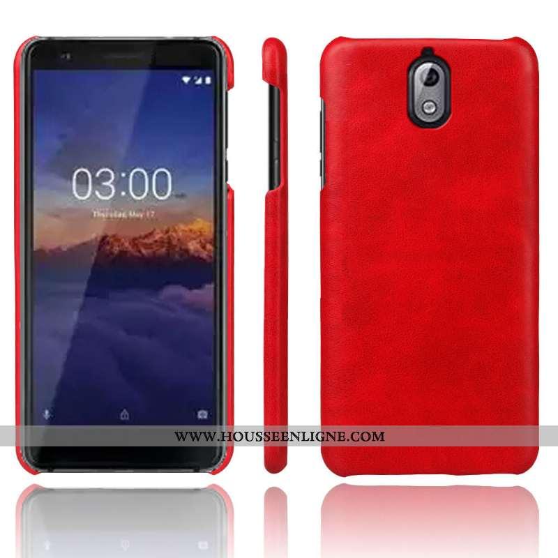 Coque Nokia 3.1 Cuir Protection Rouge Qualité Téléphone Portable Tendance