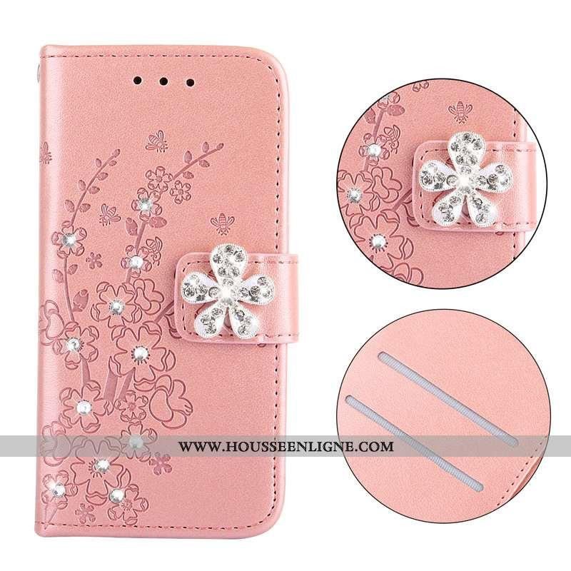 Coque Nokia 3.1 Cuir Protection Téléphone Portable Étui Housse Plier Rose