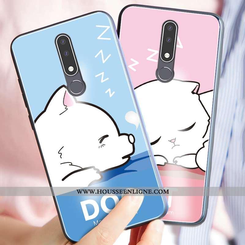 Coque Nokia 3.1 Plus Charmant Silicone Verre Difficile Protection Incassable Téléphone Portable Bleu