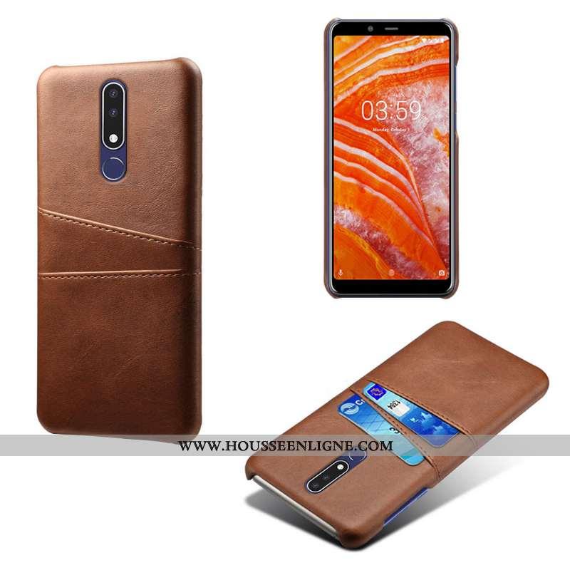 Coque Nokia 3.1 Plus Protection Marron Carte Étui Téléphone Portable