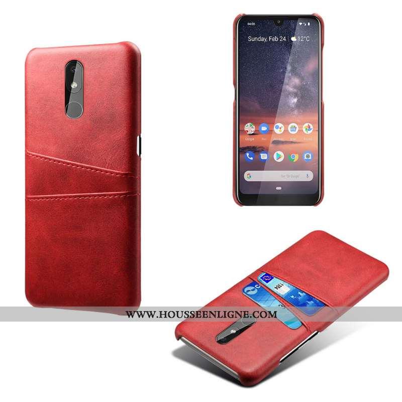 Coque Nokia 3.2 Vintage Cuir Qualité Business Incassable Téléphone Portable Rouge