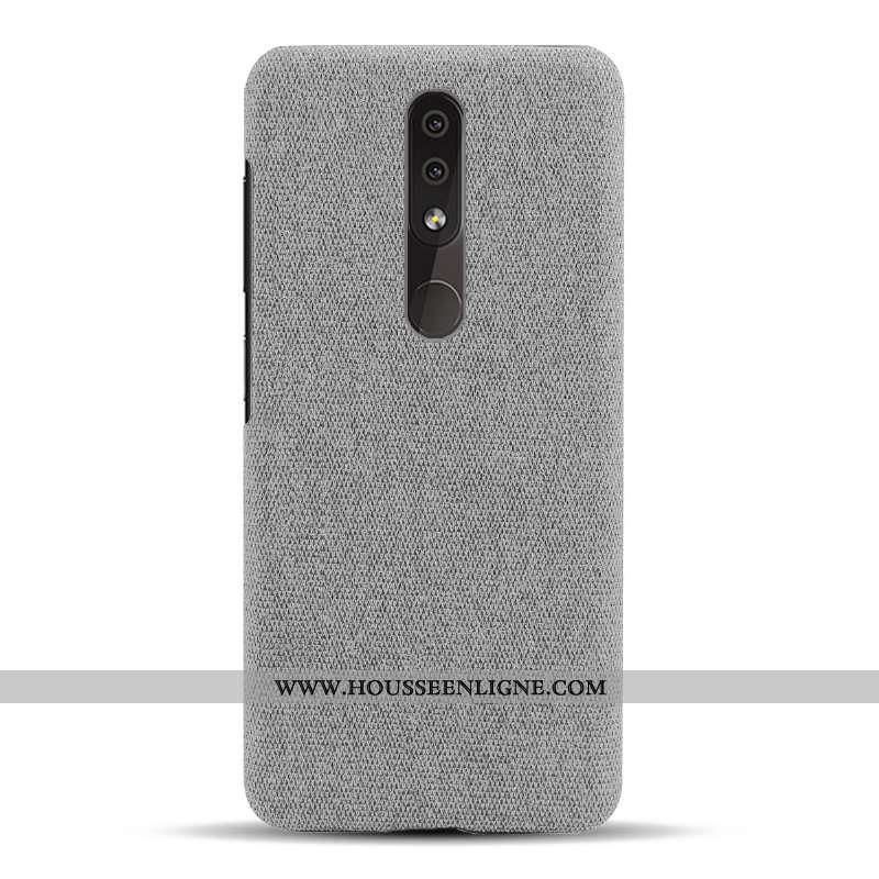 Coque Nokia 4.2 Légère Protection Tissu Gris Téléphone Portable Simple Étui