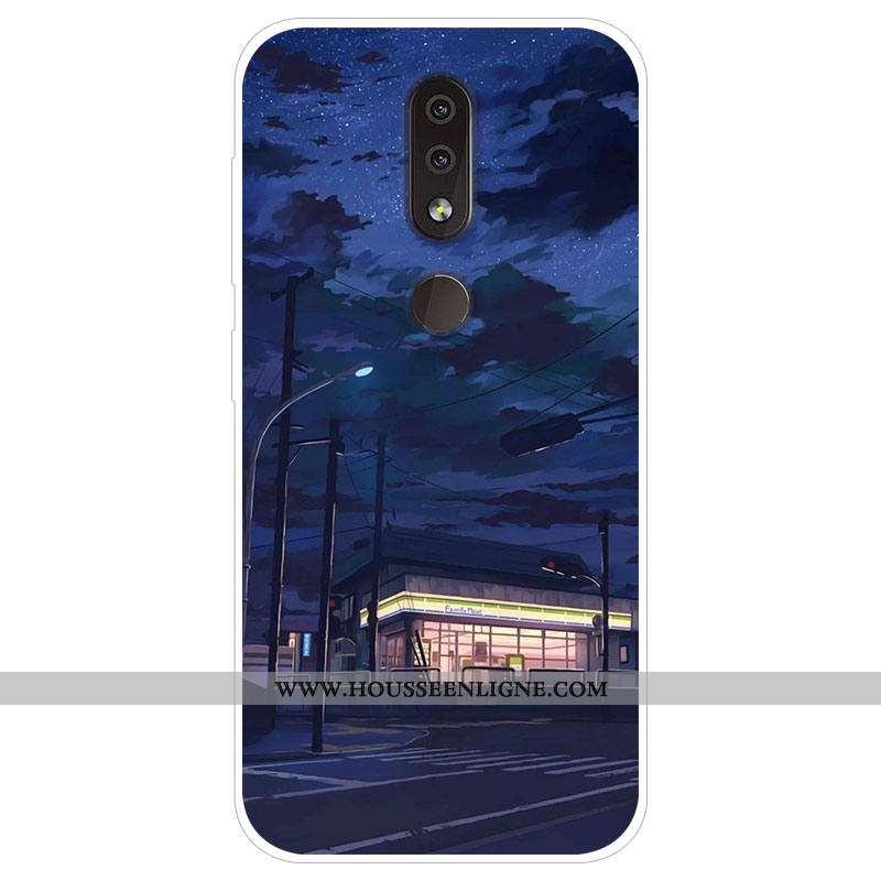 Coque Nokia 4.2 Personnalité Dessin Animé Protection Téléphone Portable Bleu Marin Tendance Bleu Fon