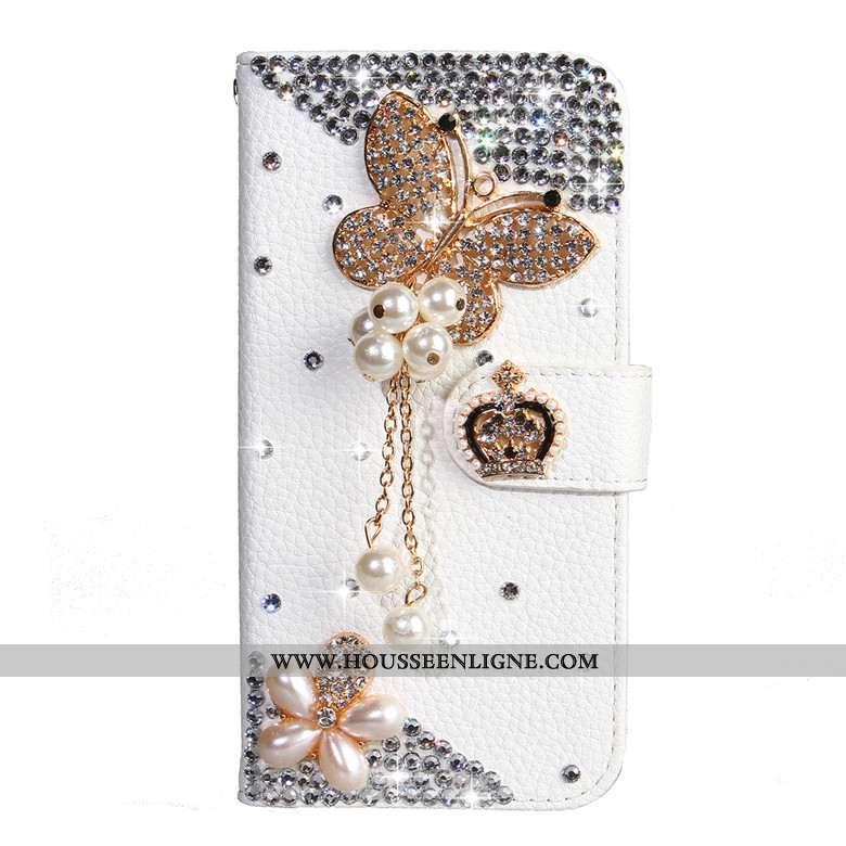 Coque Nokia 4.2 Protection Cuir Étui Blanc Papillon Téléphone Portable Blanche