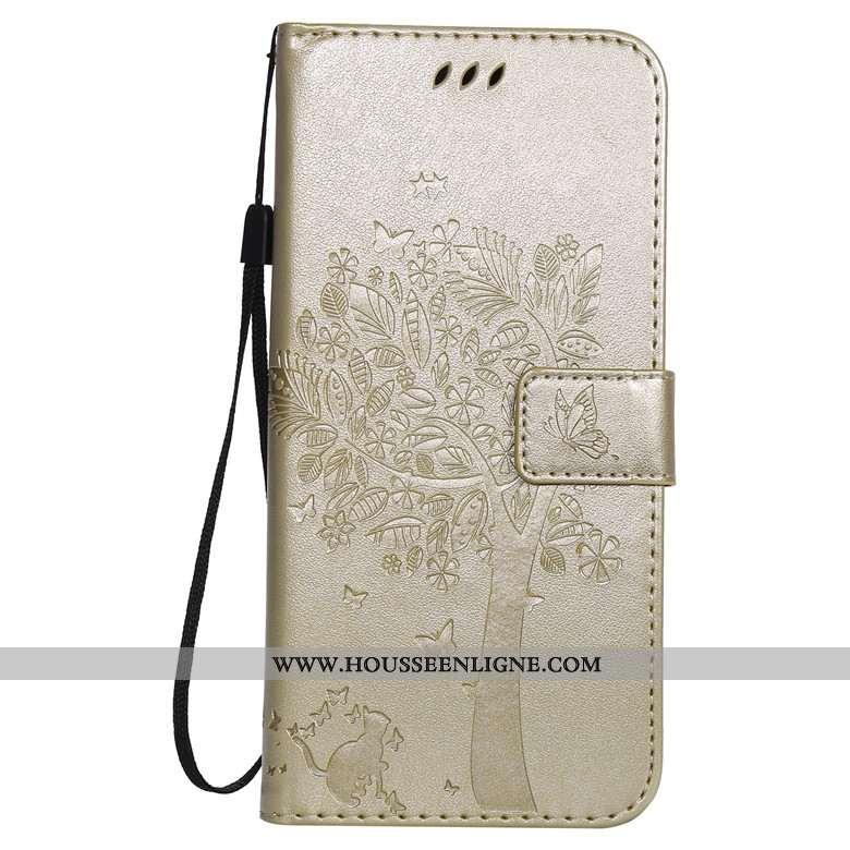 Coque Nokia 4.2 Protection Cuir Housse Téléphone Portable Or Étui Doré