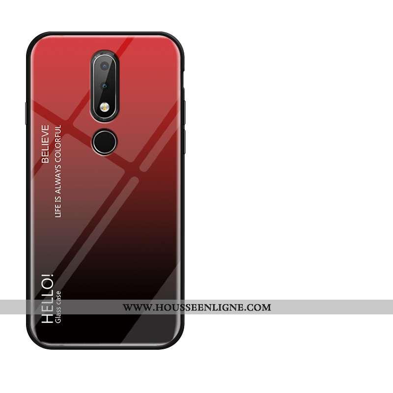 Coque Nokia 4.2 Protection Verre Silicone Tempérer Fluide Doux Rouge