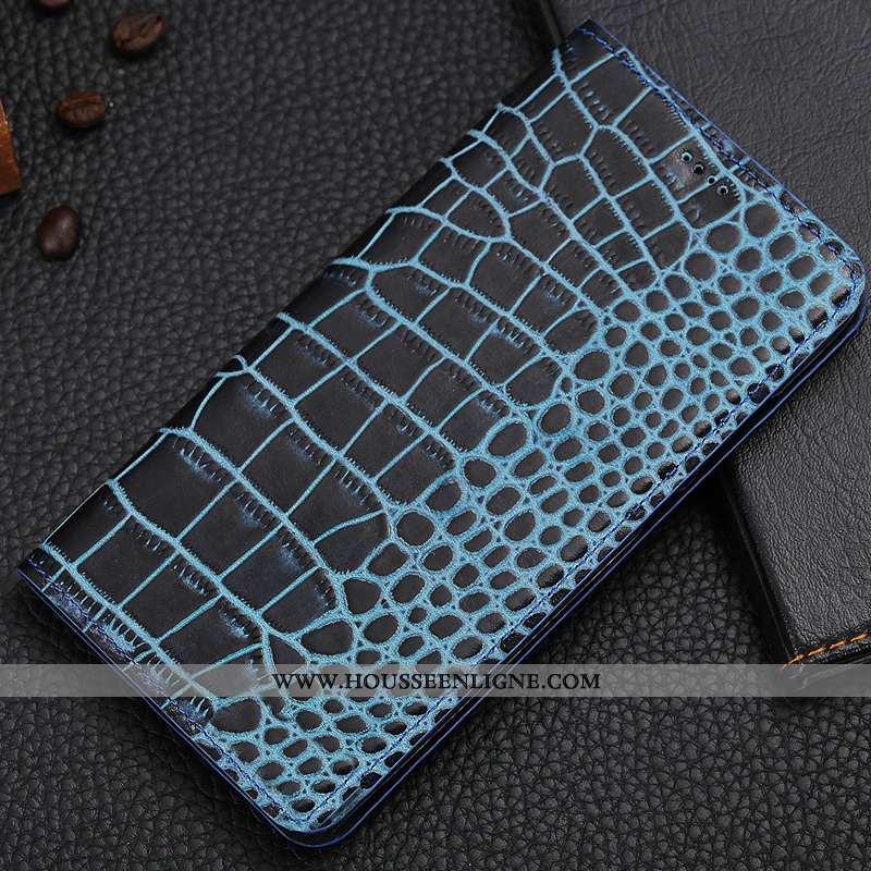 Coque Nokia 5.1 Cuir Véritable Protection Téléphone Portable Bleu Crocodile Étui