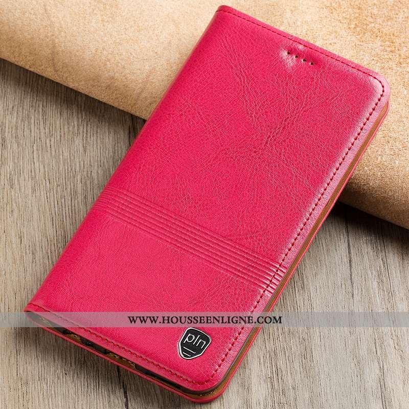 Coque Nokia 5.1 Plus Cuir Véritable Cuir Rouge Étui Téléphone Portable Rose
