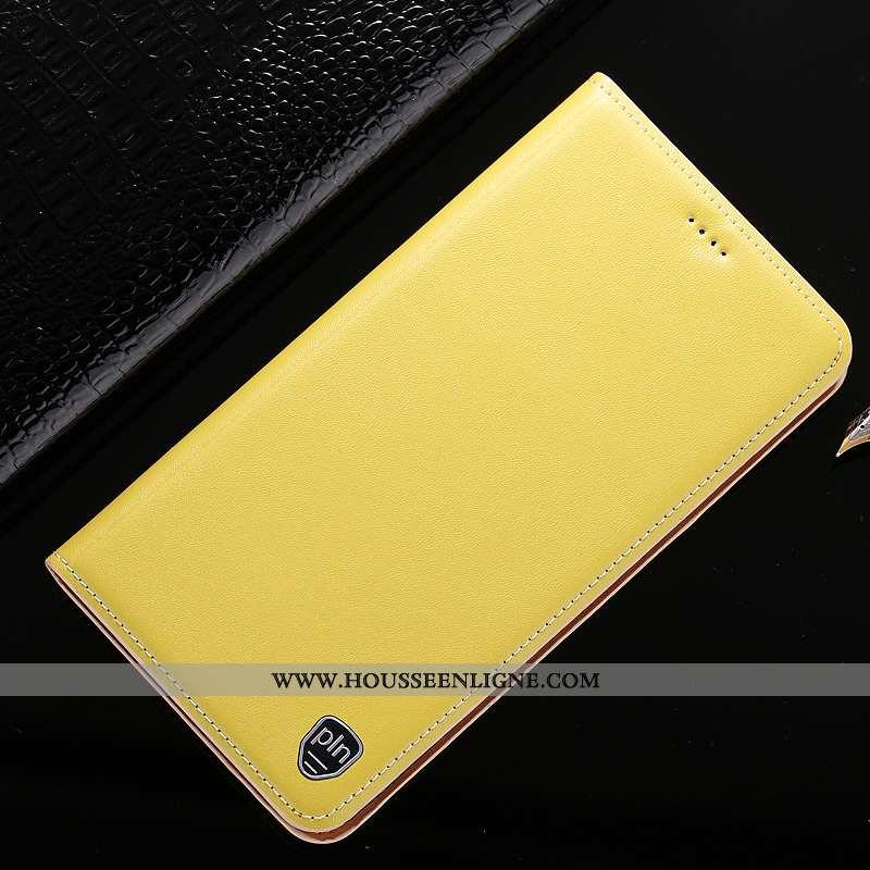 Coque Nokia 5.1 Plus Cuir Véritable Protection Jaune Téléphone Portable Étui