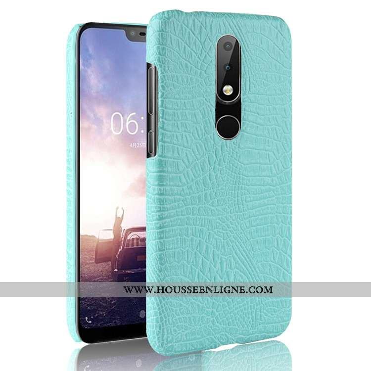 Coque Nokia 5.1 Plus Modèle Fleurie Étui Vert Business Incassable Crocodile Téléphone Portable Verte
