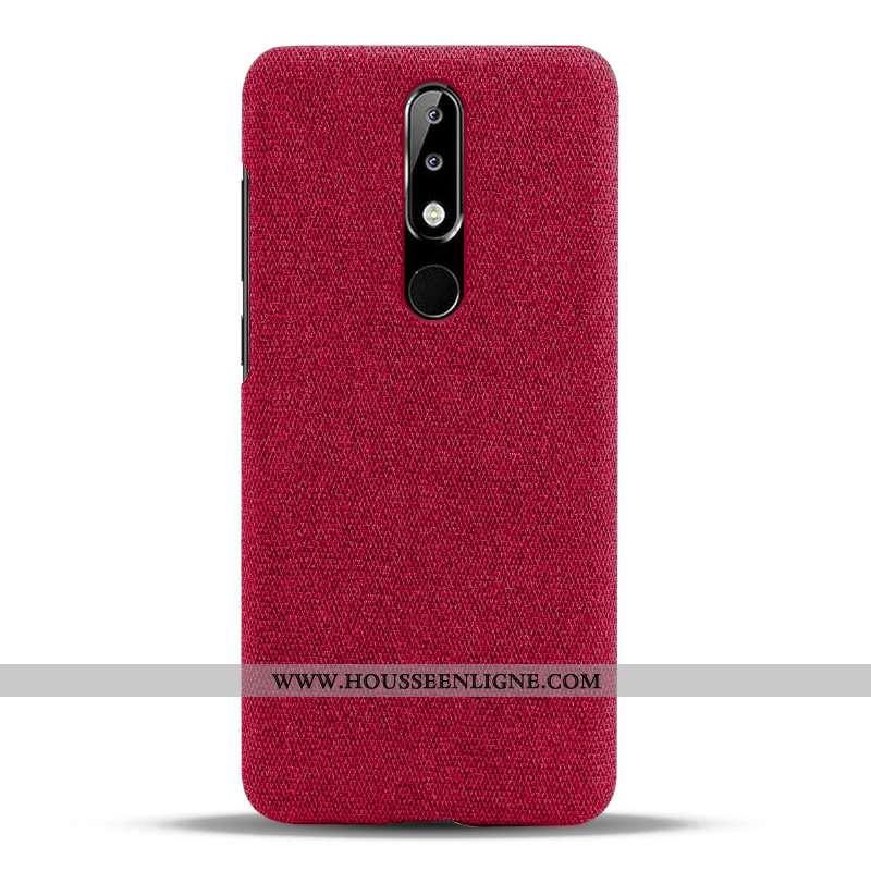 Coque Nokia 5.1 Plus Protection Légère Légères Téléphone Portable Tissu Étui Rouge