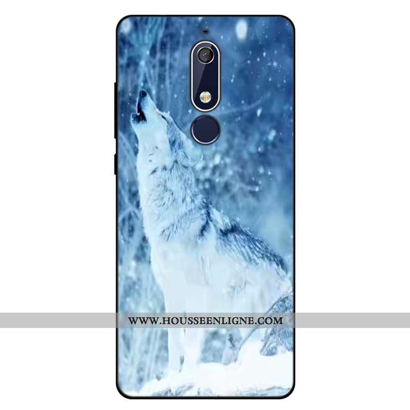Coque Nokia 5.1 Silicone Créatif Téléphone Portable Fluide Doux Tout Compris Dessin Animé Bleu