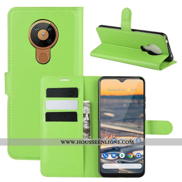 Coque Nokia 5.3 Cuir Délavé En Daim Antidérapant Carte Clamshell Incassable Verte