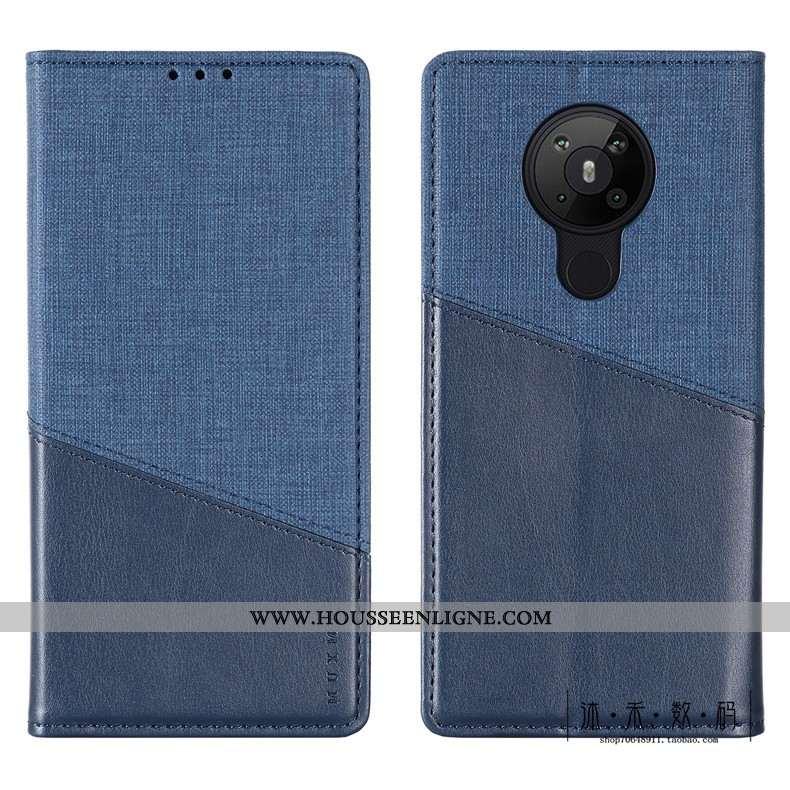 Coque Nokia 5.3 Protection Cuir Bleu Étui Téléphone Portable Luxe