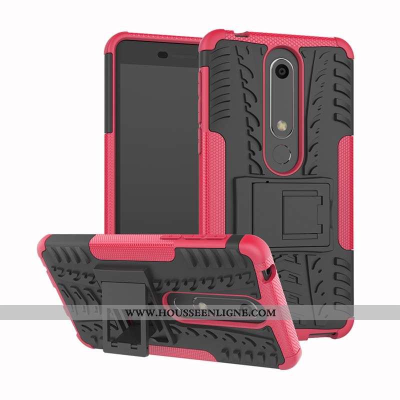 Coque Nokia 6.1 Silicone Protection Rouge Téléphone Portable Support Incassable Rose