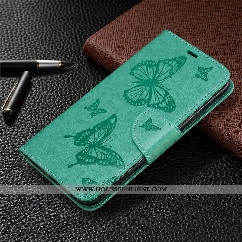 Coque Nokia 6.2 Gaufrage Cuir Papillon En Relief Couleur Unie Housse Ornements Suspendus Verte