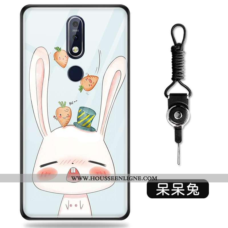 Coque Nokia 7.1 Créatif Dessin Animé Protection Personnalité Verre Vert Verte