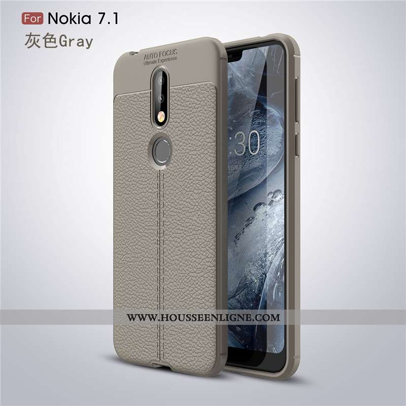 Coque Nokia 7.1 Fluide Doux Silicone Nouveau Tendance Téléphone Portable Incassable Étoile Gris