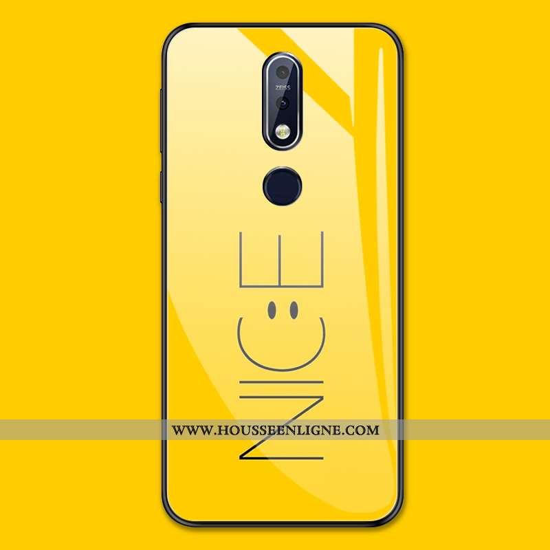 Coque Nokia 7.1 Personnalité Tendance Tout Compris Étui Verre Protection Jaune