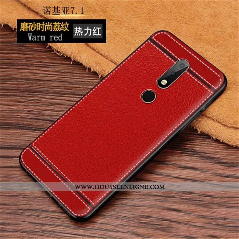 Coque Nokia 7.1 Silicone Mode Modèle Fleurie Rouge Téléphone Portable Protection
