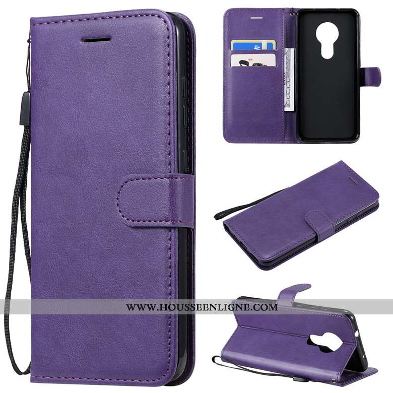 Coque Nokia 7.2 Cuir Protection Couleur Unie Incassable Étui Tout Compris Housse Violet
