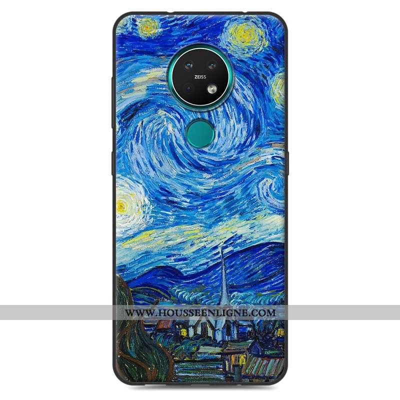 Coque Nokia 7.2 Fluide Doux Silicone Créatif Personnalité Bleu Protection Téléphone Portable