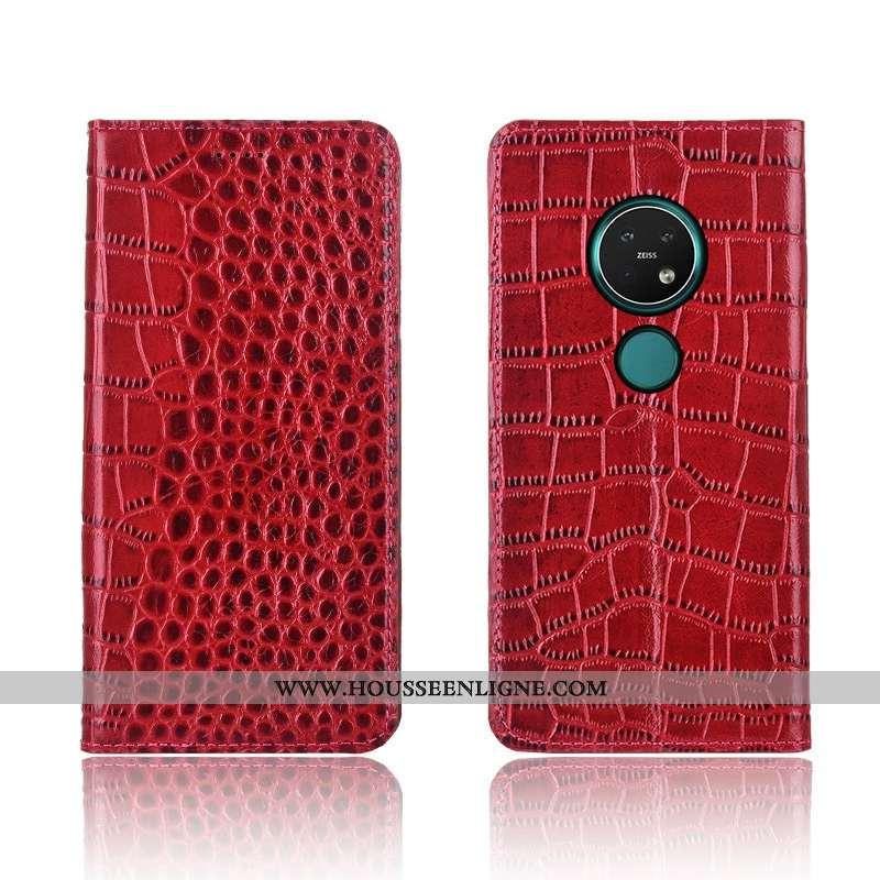 Coque Nokia 7.2 Protection Cuir Étui Tout Compris Silicone Clamshell Fluide Doux Rouge
