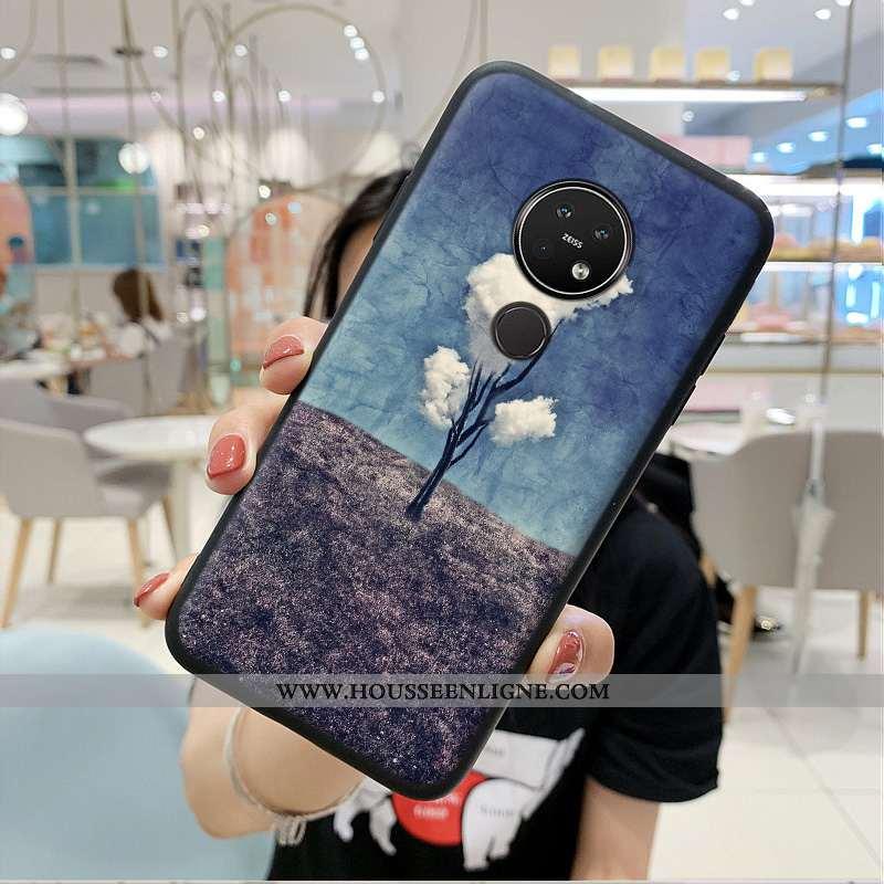 Coque Nokia 7.2 Protection Tendance Style Chinois Incassable Bleu Silicone