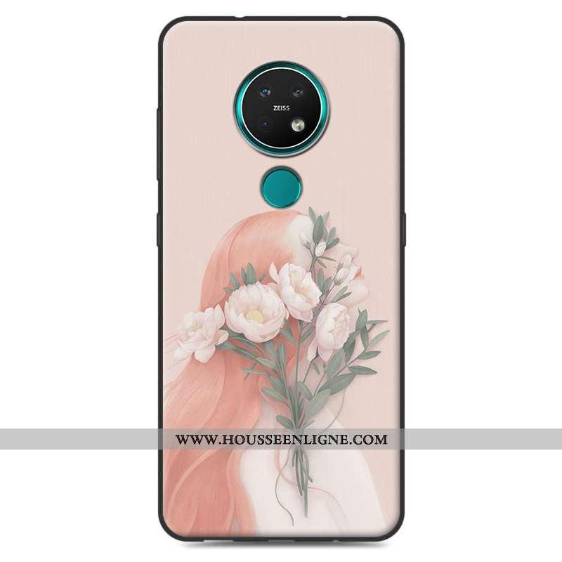 Coque Nokia 7.2 Silicone Étui Rose Art Téléphone Portable Incassable Petit