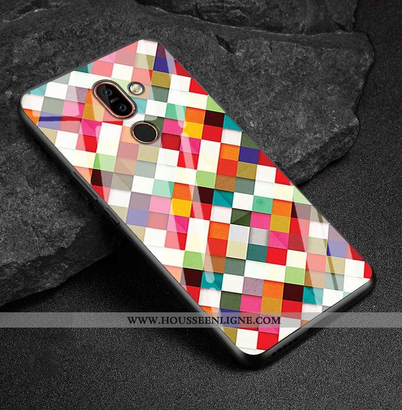 Coque Nokia 7 Plus Tendance Fluide Doux Étui Incassable Verre Multicolore Personnalisé Coloré