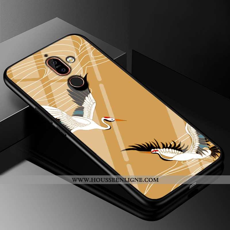 Coque Nokia 7 Plus Verre Tendance Étui Protection 2020 Grue Téléphone Portable Jaune